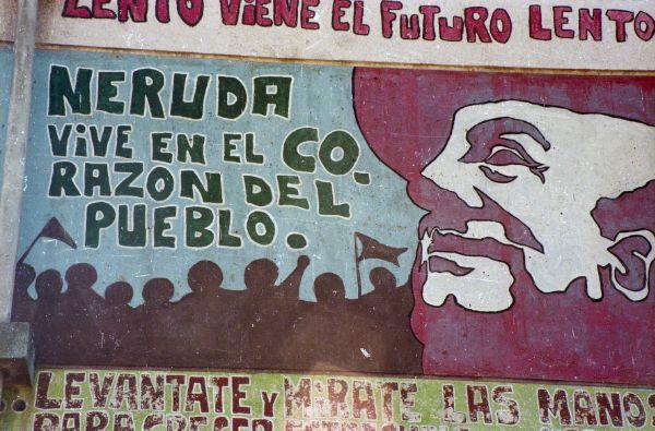Imagen de mural chileno sobre Pablo Neruda