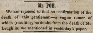 Imagen del desmentido de la muerte de Poe