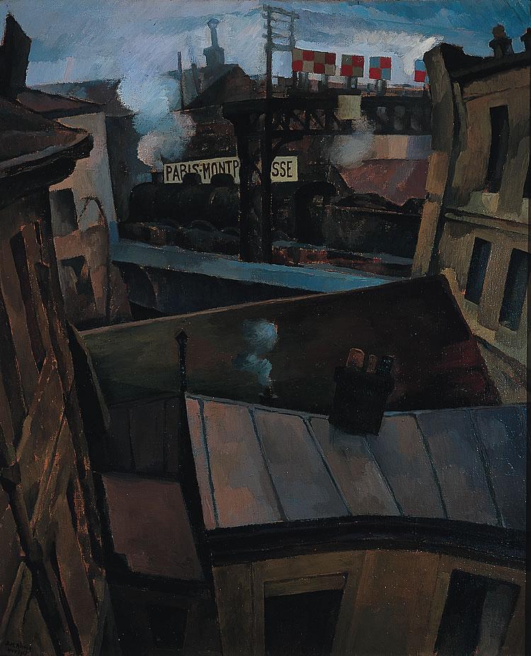 Imagen de la pintura Ferrocarril sobre Montparnasse de Diego Rivera
