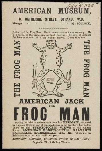Imagen del cartel de un exhibición del hombre rana en 1888