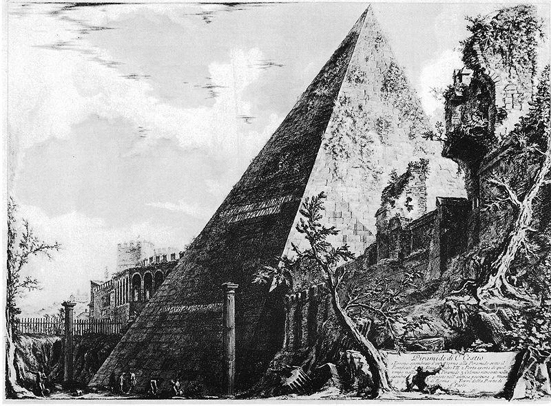 Imagen de la pirámide de Cestio de Piranesi