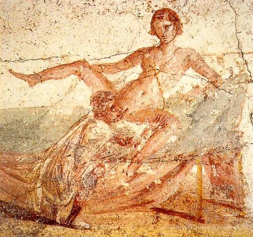 Imagen de un fresco erótico de la ciudad de Pompeya