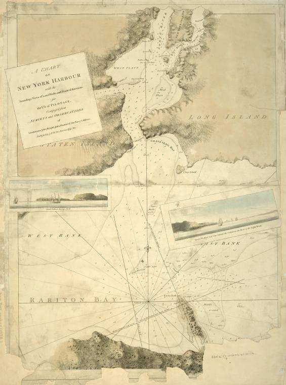 Imagen de una carta náutica de Nueva York