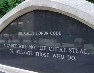 Imagen del código de honor de West Point
