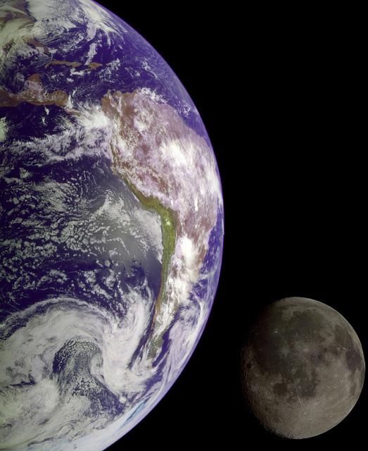 Imagen de la tierra y la luna