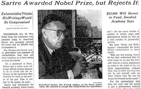 Imagen de Sartre en prensa