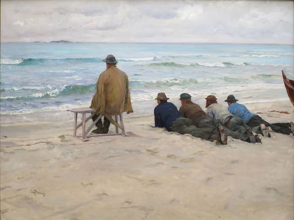 On the look out by Eilif Peterssen, 1889, Bergen Kunstmuseum.