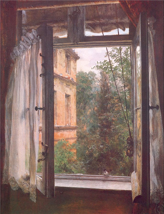 Painting View from a window in the Marienstrasse by Adolph von Menzel