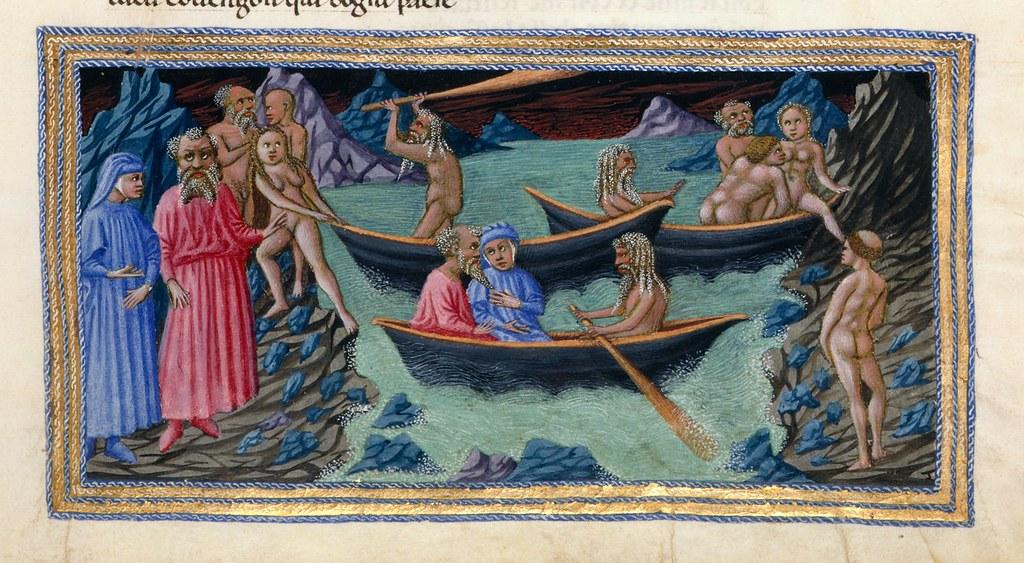 Iluminación de la Divina Comedia que muestra a Dante y Virgilio cruzando el Aqueronte