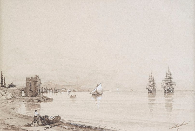 Drawing View of a bay with sailing-ships by Ivan Aivazovsky