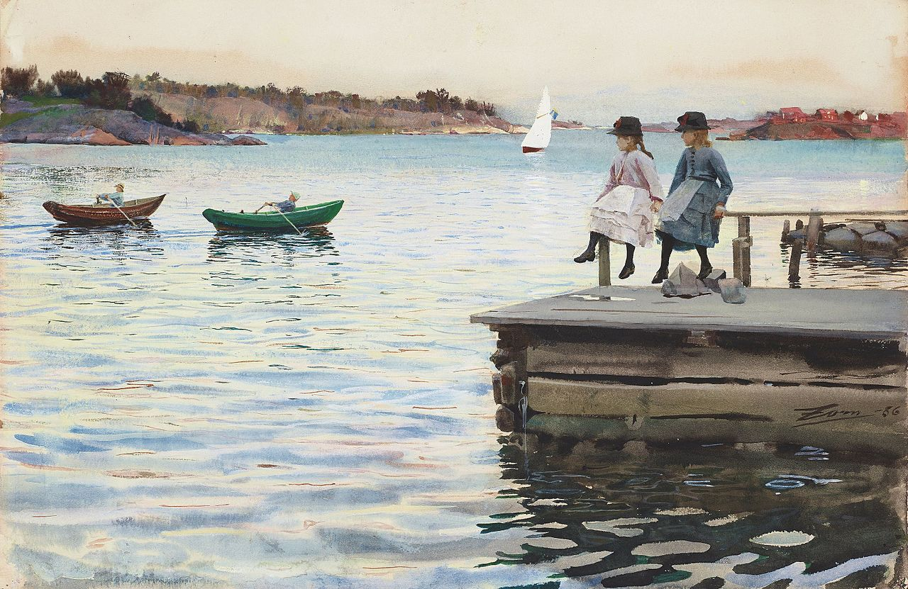 Painting Boat race by Anders Zorn
