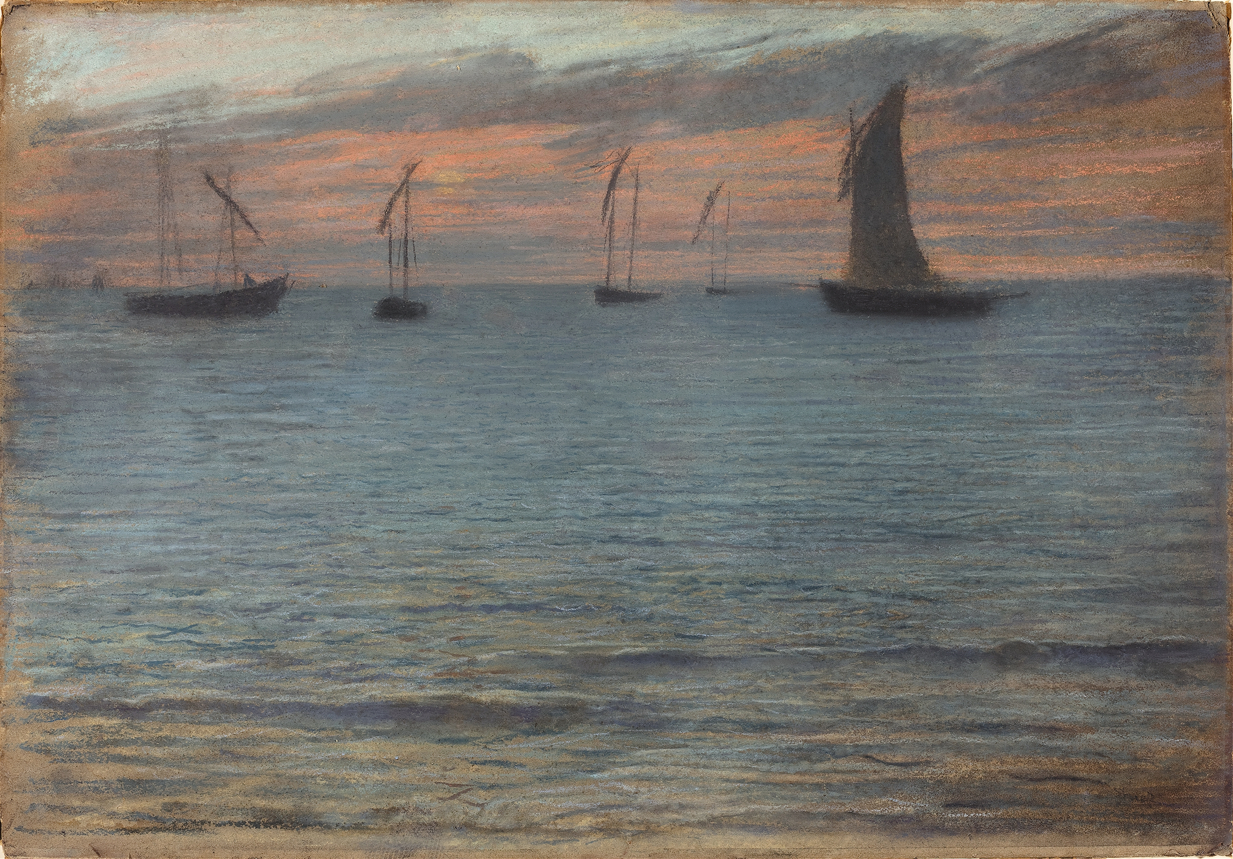 Painting of a seascape at sunset